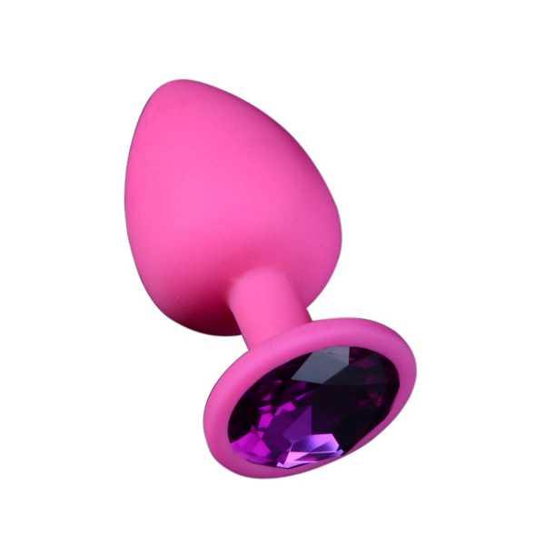 Pinker Buttplug aus Silikon mit Kristall M