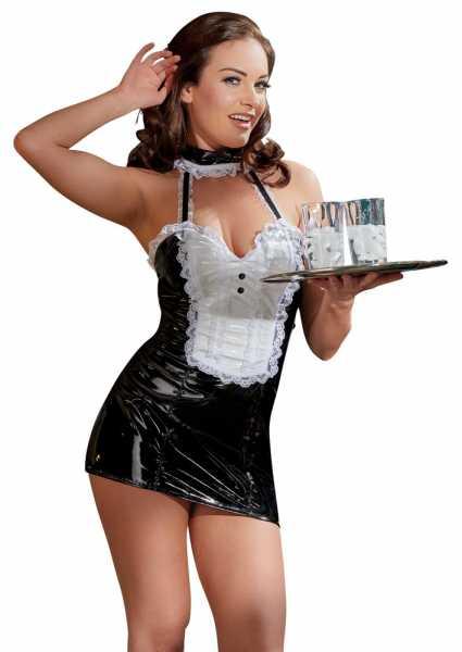 Lack-Kleid Dienstmädchen Schwarz