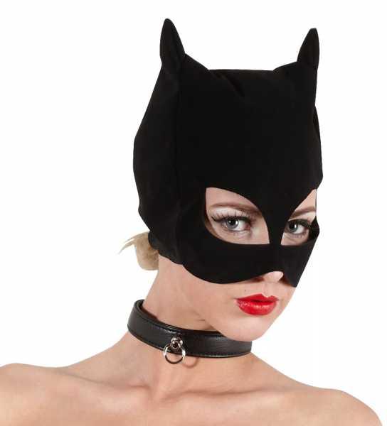 Katzen-Maske im Nubukleder-Design Schwarz