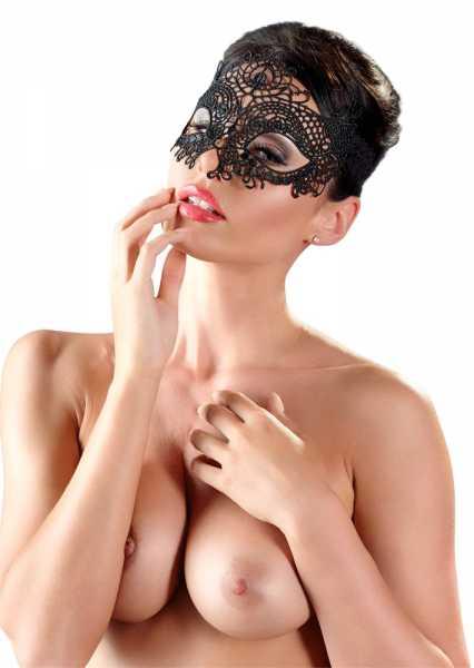 Filigrane Stickerei Augenmaske symmetrisch Schwarz