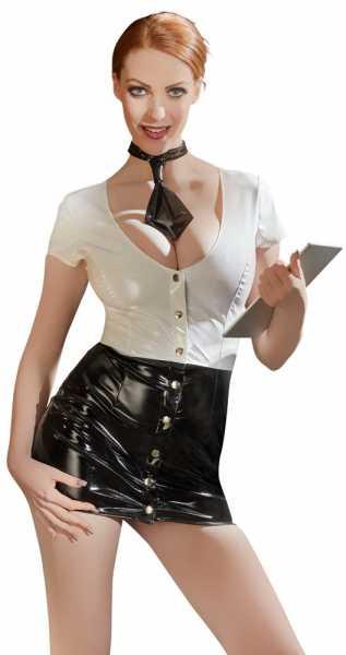 Lackkleid Sekretärin Schwarz-Weiß