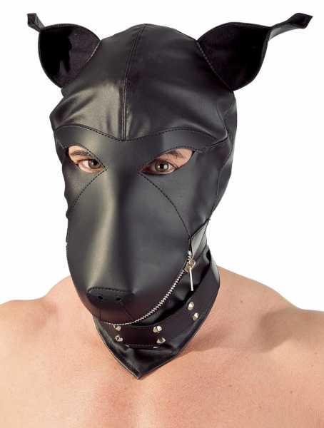 Dog Mask Kopfmaske Leder-Design Schwarz