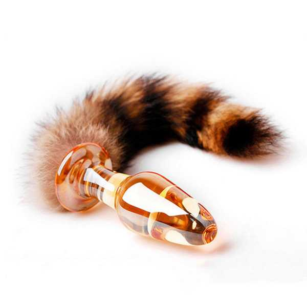 Fox Tail Glass Anal Plug Amber