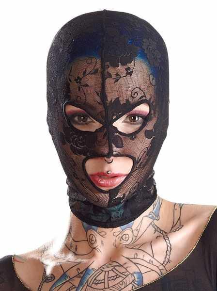 Kopfmaske aus elastischer Spitze Schwarz